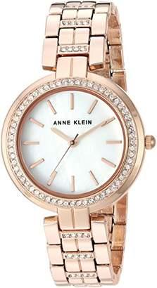 Anne Klein Women's AK/2968MPRG Swarovski Crystal Accented -Tone Bracelet Watch