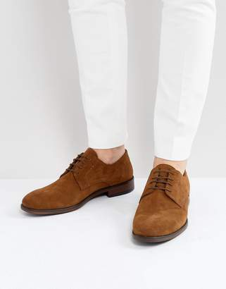 Asos DESIGN Lace Up Derby Shoes In Tan Suede With Natural Sole