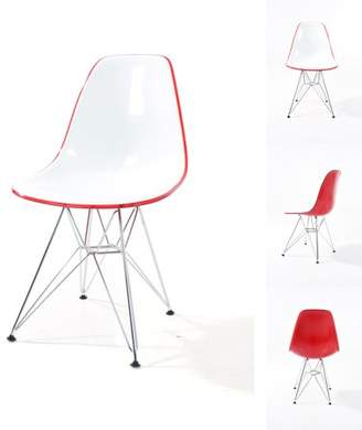 Warehouse of Tiffany Timot Contemporary Two-Toned Polycarbonate Chair with Chrome Legs (set of 2) : Transparent Red/ White