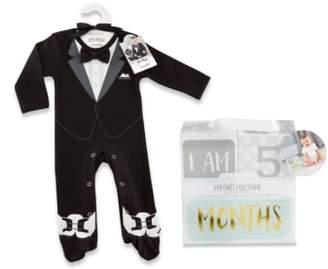 Baby Aspen My First Tuxedo Footie & Milestone Blocks Set