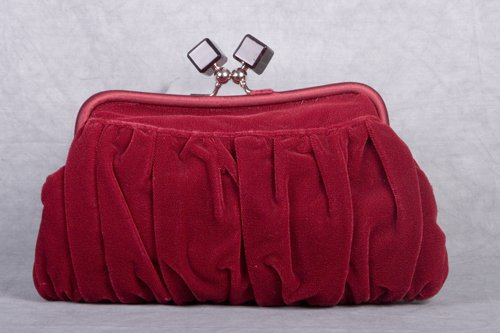 La Regale Crimson Velvet Frame Purse