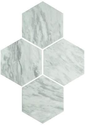 EliteTile SAMPLE - Karra Hexagon Porcelain Field Tile in White/Gray