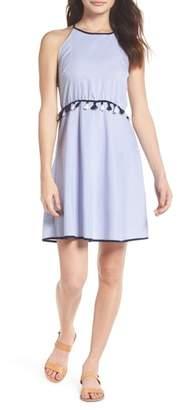 THML Stripe Tassel Trim Halter Dress