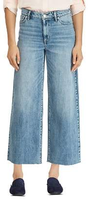 Ralph Lauren Wide-Leg Crop Raw-Hem Jeans in Blue
