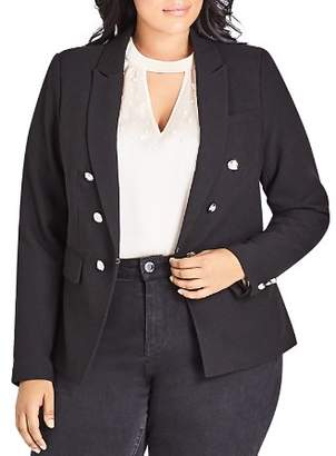 City Chic Plus Military Button Jacket