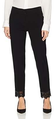 Nine West Women's Crepe Pant with Lace Detailing on Ankle