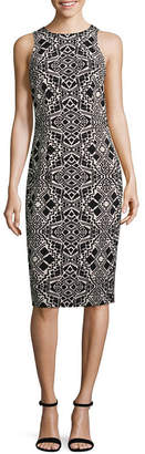 London Times Sleeveless Geometric Sheath Dress