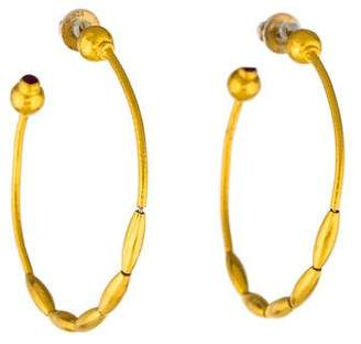 Gurhan 24K Ruby Wheat Hoop Earrings