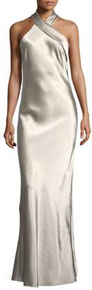 Galvan Metallic Crepe Halter Gown