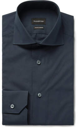 Ermenegildo Zegna Midnight-Blue Trofeo Slim-Fit Cutaway-Collar Cotton-Poplin Shirt