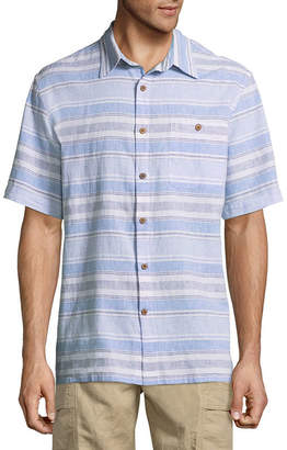Island Shores Short Sleeve Stripe Button-Front Shirt