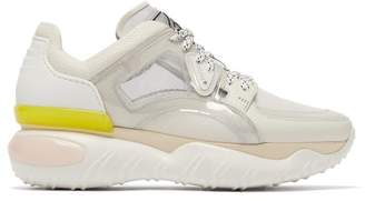 Fendi Contrast Panel Low Top Trainers - Womens - White