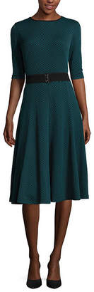 Danny & Nicole Elbow-Sleeve Pucker Knit Belted Fit-and-Flare Dress