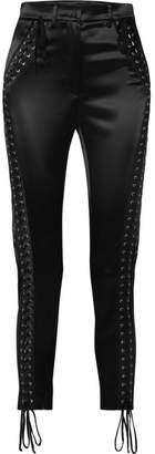 Dolce & Gabbana Lace-up Satin Straight-leg Pants - Black
