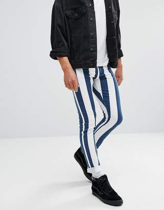 Jaded London Muscle Fit Jeans In Navy And White Stripes