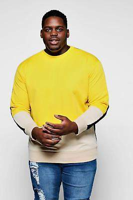 boohoo NEW Mens Big And Tall Contrast Crew Neck Sweat in Cotton