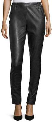 Caroline Rose Faux-Leather Skinny Pants, Petite