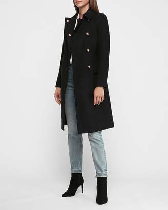 Express Long Belted Wool-Blend Trench Coat
