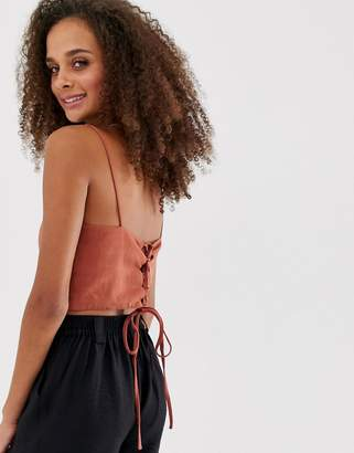 New Look strap back crop top in orange