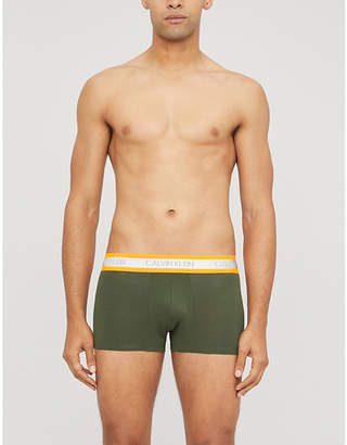 Calvin Klein Logo-print slim-fit stretch-cotton trunks