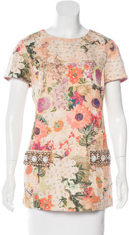 Tory Burch Tory Burch Embellished Floral Print Top