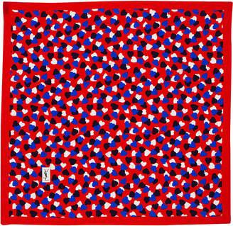 Saint Laurent Pariscarves Hearts Silk Square Scarf