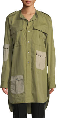 J.W.Anderson Long-Sleeve Button-Front Pocket Top