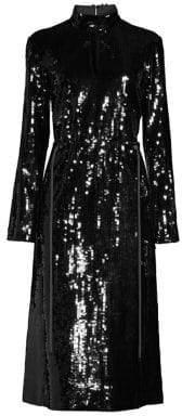 Tibi Avril Sequins Split Neck Dress