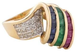 Ring Retro 14K Emerald, Ruby, Sapphire, & Diamond Cocktail