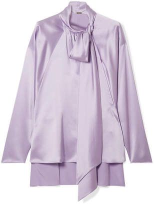 ADAM by Adam Lippes Pussy-bow Silk-satin Blouse - Lilac