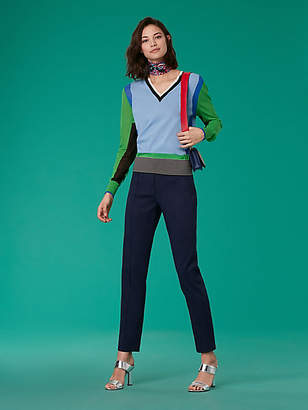 Diane von Furstenberg Long-Sleeve V-Neck Color Block Cotton Pull Over