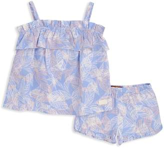 7 For All Mankind Girls' Palm-Print Ruffled Cami & Shorts Set