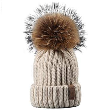 BEIGE FURTALK Womens Girls Winter Fur Hat Real Large Raccoon Fur Pom Pom Beanie Winter Hats (White)