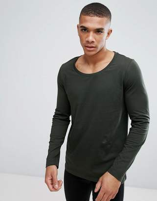 Asos DESIGN long sleeve t-shirt with scoop neck in khaki