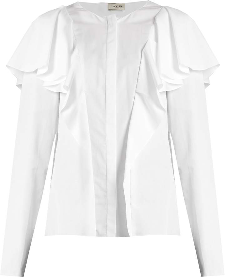 Lanvin Ruffled long-sleeved blouse
