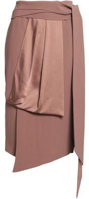 Chalayan Draped Satin-Paneled Crepe Midi Skirt