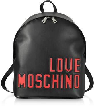 Love Moschino Love Pixel Black Eco-Leather Backpack