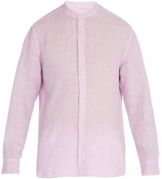 120% Lino Long Sleeved Linen Shirt - Mens - Pink
