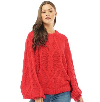 73a6c6a414b1 Brave Soul Womens Macrame Cable Knit Balloon Sleeve Jumper Scarlet