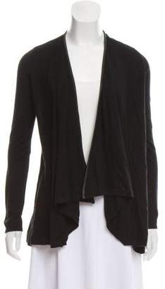 Alice + Olivia Leather-Trimmed Open Front Cardigan