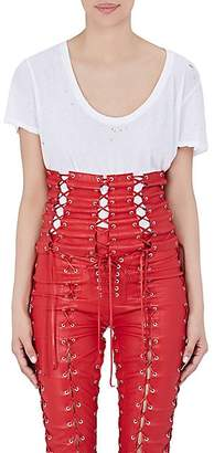 Taverniti So Ben Unravel Project BEN UNRAVEL PROJECT WOMEN'S LACE-UP LEATHER CORSET - RED SIZE L/XL