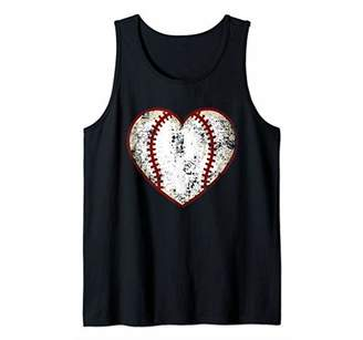 Funny Baseball Heart graphic Gift Retro Softball Heart Tank Top