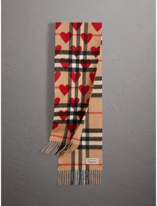 Burberry The Mini Classic Check Cashmere Scarf with Hearts
