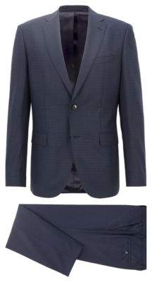 BOSS Hugo Constructed regular-fit suit in patterned virgin wool 36R Open Blue