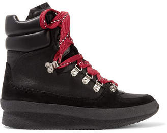 Isabel Marant - Brendty Leather-trimmed Suede And Canvas Ankle Boots - Black $595 thestylecure.com