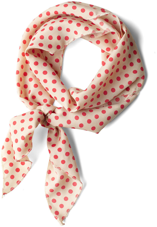 Bow to Stern Scarf in Beige Dots