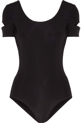 Cutout Tech-jersey Bodysuit - Black