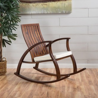 Noble House Grace Wood Rocking Chair with Cushion, Brown Mahogany