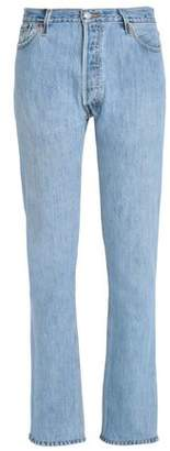 Levi's Re/Done By Frayed Distressed Mid-Rise Straight-Leg Jeans