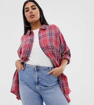 Asos DESIGN Curve long sleeve tartan check boyfriend shirt